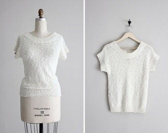 1980s white sweater short sleeved nubby boatneck sweater