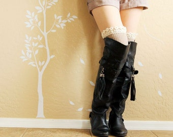 Beautiful lacy Leg warmers.Khaki and Charcoal  boots socks with cute lace,cute birthday gift for her. Charcoal  long socks for high boots