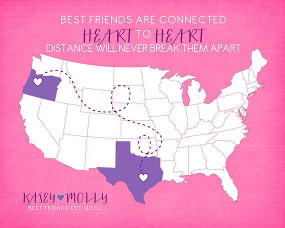 Birthday Quotes For A Friend Miles Away : Gift for best friend long distance friendship by