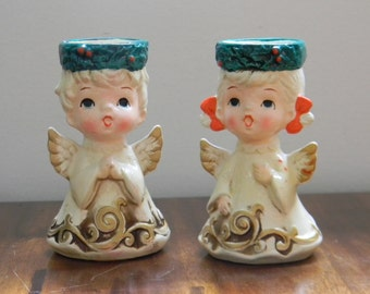 Vintage Pair of Lefton Angel Candle Holders 1950's