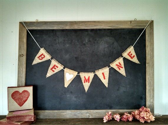 Valentines Day Be Mine Burlap Banner Triangle Flag Pennant Bunting Garland with hearts