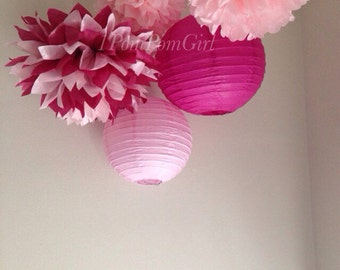 TISSUE POMS & LANTERNS / 3 tissue paper pom poms/2 paper lanterns / Baby Shower, Birthday, Wedding, Bridal Shower, Nursery Decor, Ceremony
