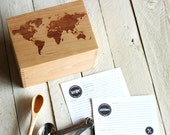 World Map Recipe box Solid Wood  Engraved Recipe Card Holder With Recipe Cards