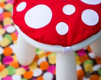 Toadstool Cushion Red - Children/Kids Cushion for Ikea Mammut Stool / Chair