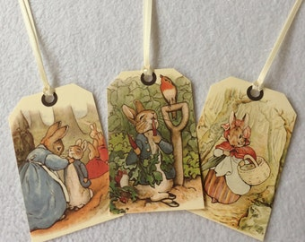 Peter Rabbit gift tags - set of 8 - beatrix potter with ribbon