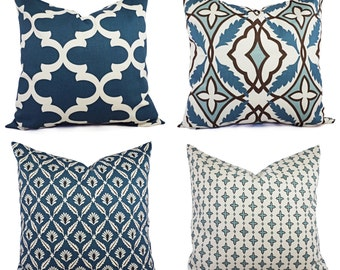 Throw Pillow Cover Blue and Beige - Decorative Pillow - Blue Quatrefoil Pillow - Accent Pillow -  Pillow Covers