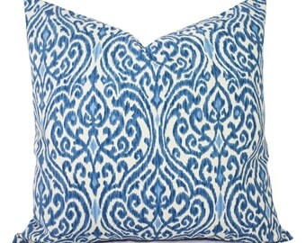 Two Decorative Throw Pillow Covers - Blue and Beige Ikat - 12x16 12x18 14x14 16x16 18x18 20x20 22x22 24x24 26x26 Pillows - Blue Pillows