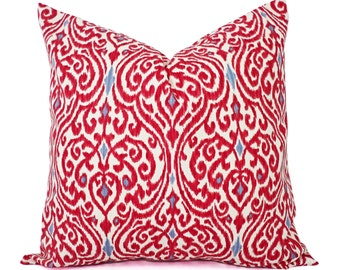 Two Decorative Throw Pillow Covers - Red and Beige Ikat - 12x16 12x18 14x14 16x16 18x18 20x20 22x22 24x24 26x26 Red Pillows
