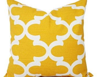 Two Yellow Decorative Pillows - Two Yellow Throw Pillow Covers - Yellow Pillow Covers - Yellow Quatrefoil Pillow Cover - Yellow Pillows