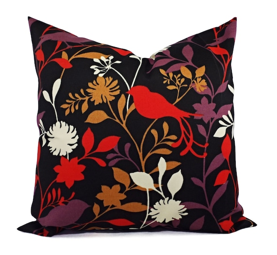 Items similar to Two Decorative Pillow Covers - Pillow Covers in Black Red Brown and Beige ...