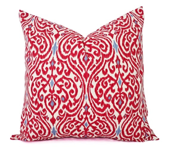 Red Throw Pillows Etsy : Two Decorative Throw Pillow Covers Red and Beige Ikat