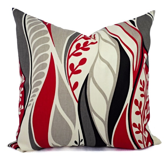Two Throw Pillows in Red Grey and Black by CastawayCoveDecor