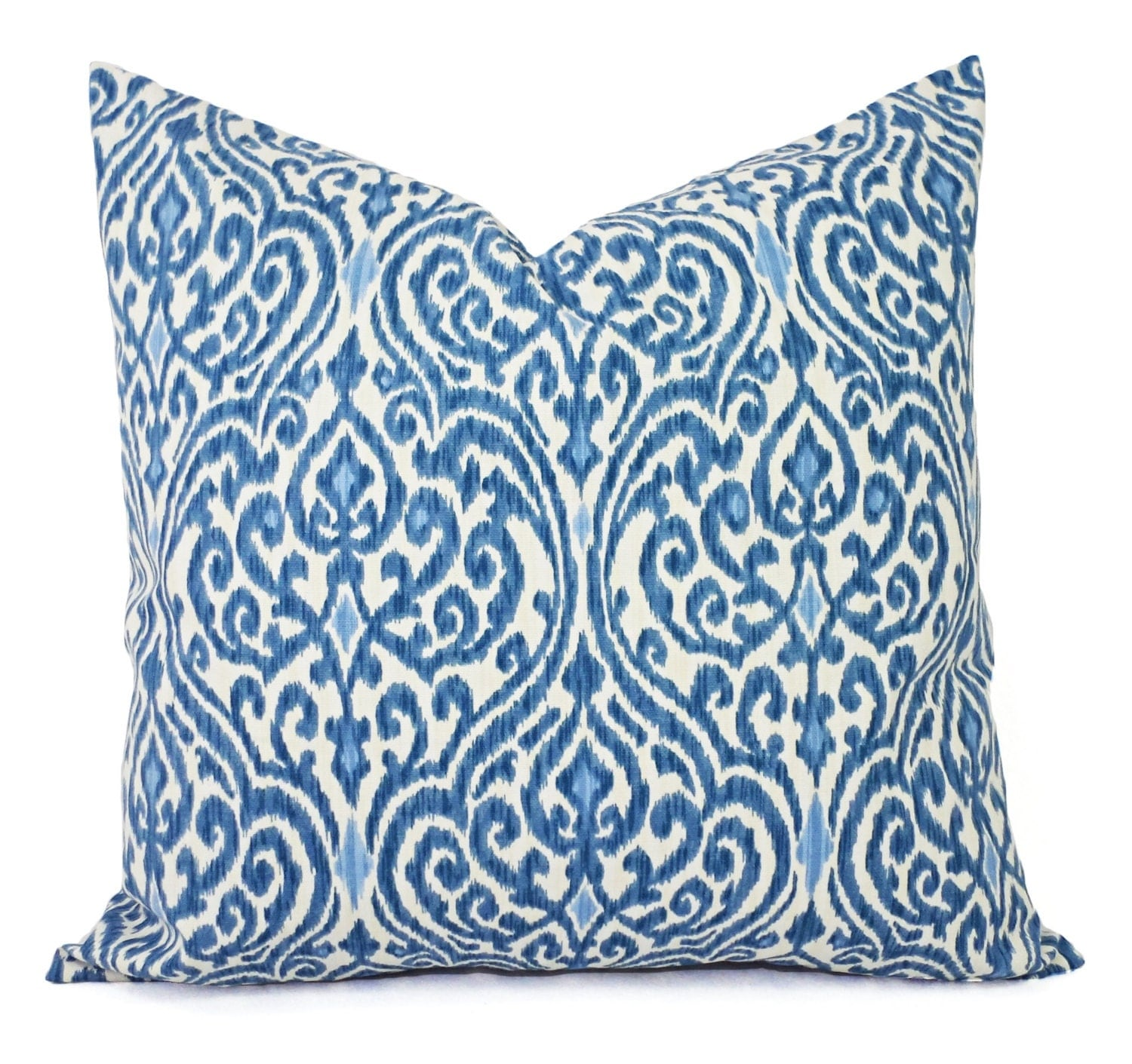 Decorative Pillow Wraps : Two Decorative Throw Pillow Covers Blue and Beige Ikat