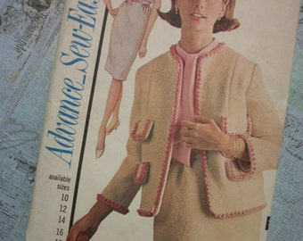 1964 Advance Sew-Easy Misses Pattern 3409 Misses Suit and Blouse Size 12