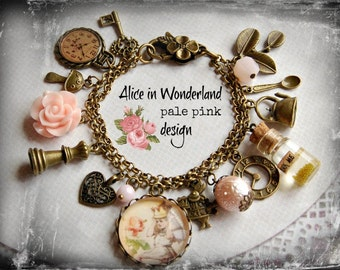 Alice in Wonderland Jewellery bracelet  handmade Gift-Pale Pink - drink me mini glass bottle Fimo