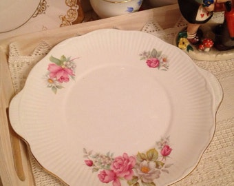 Vintage Cake Plate with pink roses and flowers design by Royal Minster. CP065