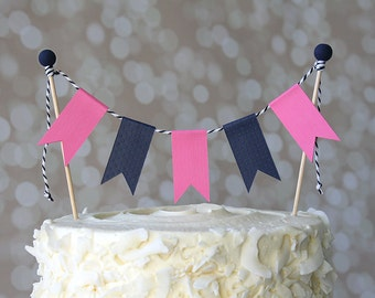 Preppy Nautical Navy Blue & Hot Pink Birthday Cake Bunting Pennant Flag Cake Topper-MANY Colors to Choose From!  Birthday Shower Cake Topper