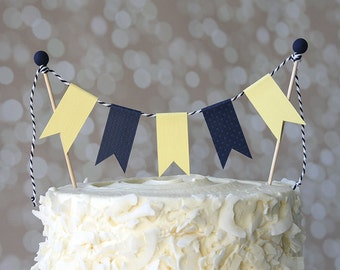 Preppy Nautical Navy Blue & Yellow Birthday Cake Bunting Pennant Flag Cake Topper-MANY Colors to Choose From!  Birthday, Shower Cake Topper