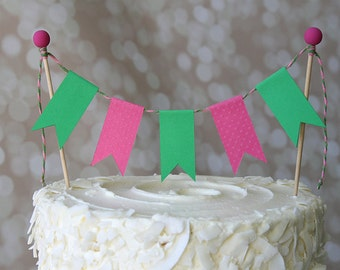 Preppy Hot Pink & Green Birthday Cake Bunting Pennant Flag Cake Topper-MANY Colors to Choose From!  Birthday, Shower Cake Topper