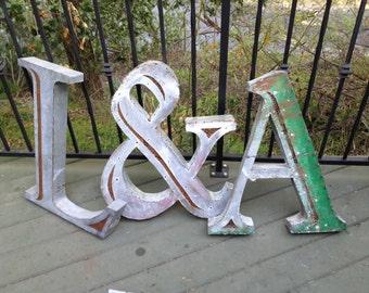 Galvanized Steel Letter L, Metal Letter Sign, Wedding Letters