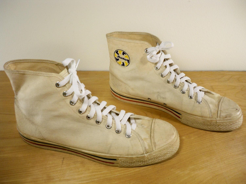vintage bata made in usa white canvas hi top skater