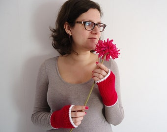 Hot pink fingerless mittens, fingerless mitts in hot pink and white, pink wool gloves