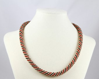 Russian Spiral Beaded  Necklace in Crimson Red, Black and Gold