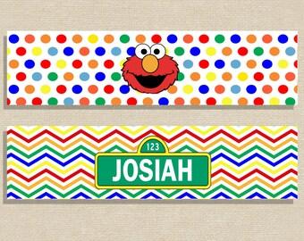 Sesame Street Water Bottle Labels - Elmo Water Bottle Labels - Elmo Birthday - Sesame Street Birthday