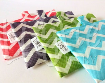 Reusable Snack Bags - Set of 4 - Chevron (blue, green, gray, coral) - ECOfriendly & Food Safe - Dishwasher Safe - Back to School