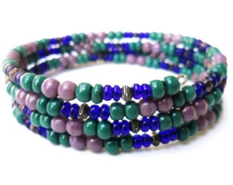Vintage Glass  Beads Memory Wire Spiral Bangle Bracelet