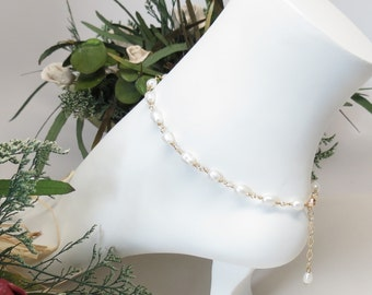 Freshwater Pearl Anklet, Pearl anklet In 14K Gold Filled, June Birthstone, White Pearl Anklet, Wire Wrapped, 9.25-10.25 Inches