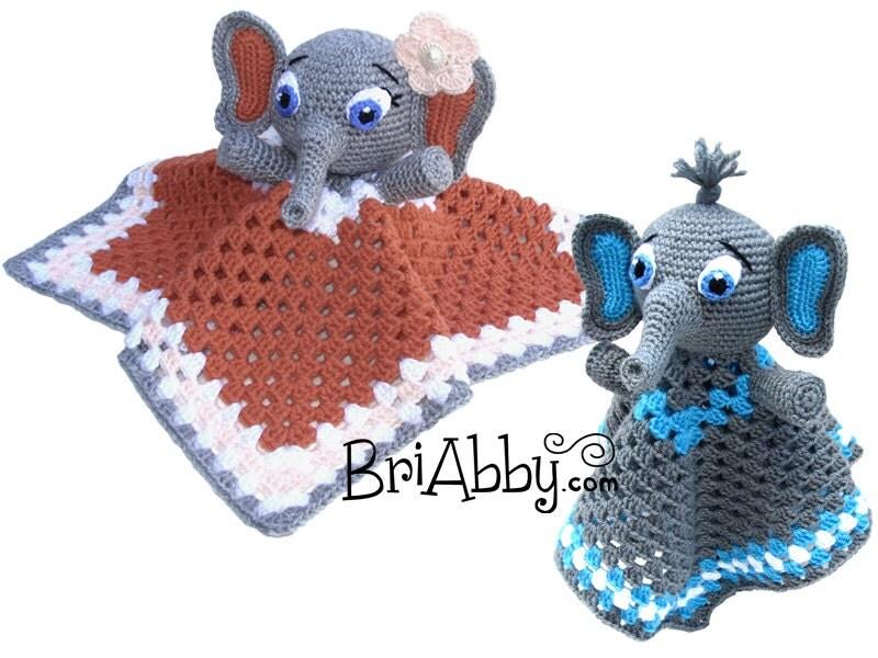 Amigurumi Elephant Snuggle : Crochet Elephant Lovey Security Blanket / Cuddle Buddy