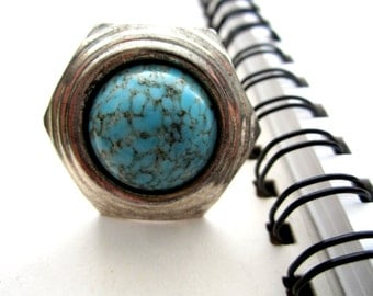 SALE* Repurposed /Upcycled Vintage Large Turquoise Disk Earring in a Bronze Tone Ring, Eco Chic Ring. Turquoise Ring.