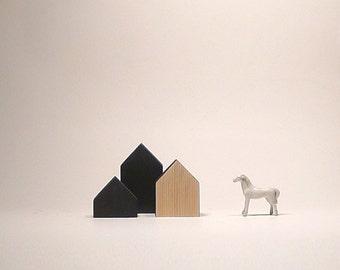 Black & natural wooden houses, home decoration, tabletop art sculptures wood