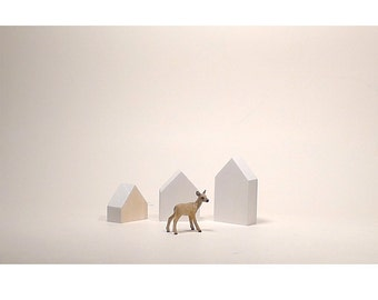White & natural wooden houses, home decoration, tabletop art sculptures wood