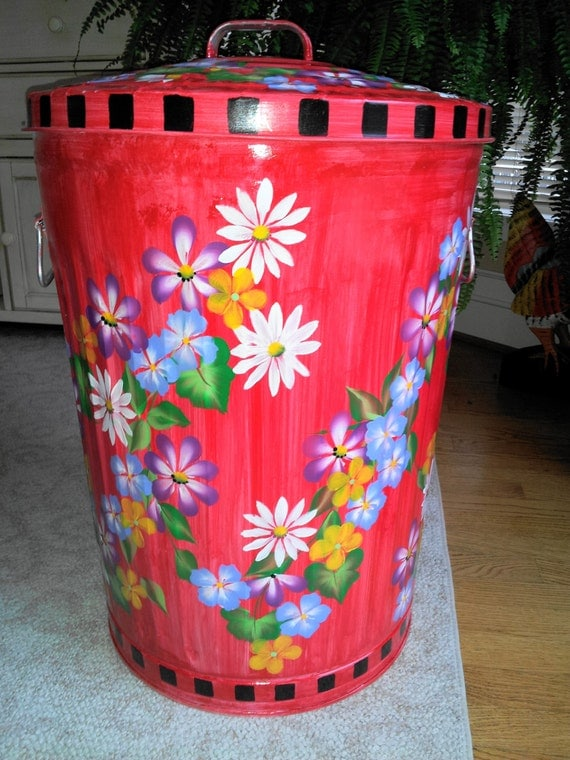 20 Gallon Hand Painted Galvanized Metal Trash Can W Side