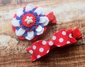 Fourth of July hair clip set - baby, toddler, girls hair clips - patriotic clips - felt flower clips
