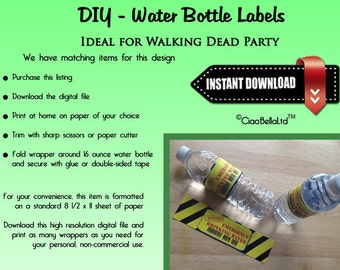 Printable Zombie Party Water Bottle Labels - INSTANT DIGITAL DOWNLOAD