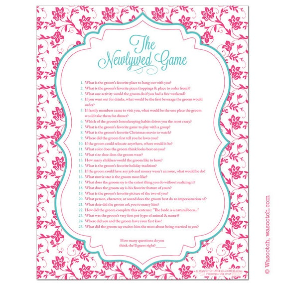 Hot Pink Turquoise Floral Damask Bridal Shower Game Newlywed
