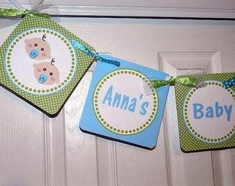 Twin Baby Shower - Twin Baby Shower Banner - Baby Shower Banner
