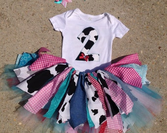 Barnyard Birthday outfit, Cowgirl Outfit - Cow tutu outfit, red, pink and turquoise