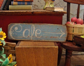 Vintage French Cafe Sign 1:12 Scale Miniature Dollhouse Accessory
