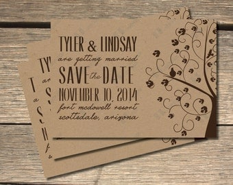 Whimsical Tree Kraft Paper Save The Dates- 5x7