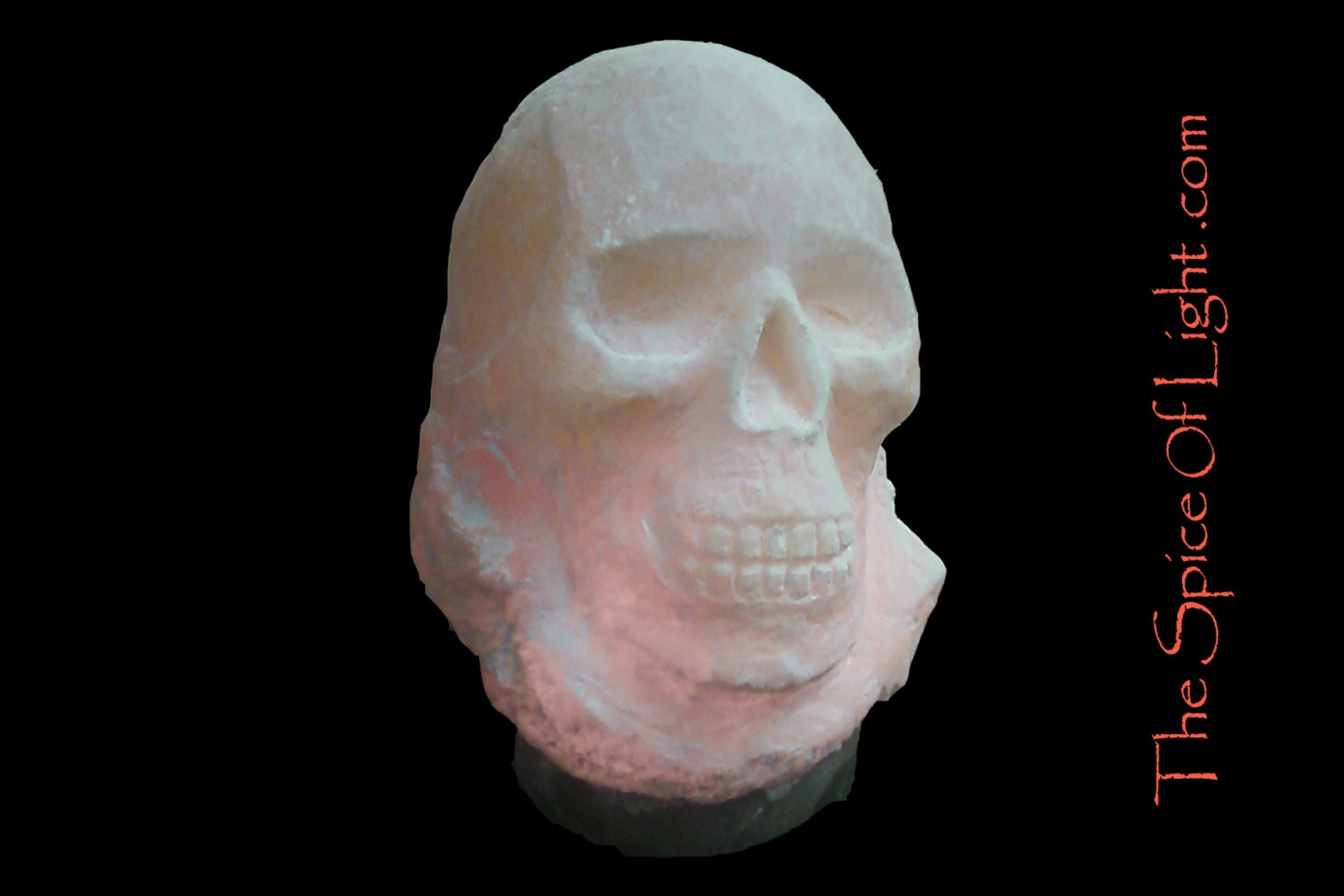 Cryptic skull Himalayan salt lamp sculpture by TheSpiceOfLight