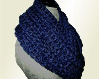 Infinity Scarf Cowl Long Chunky Crochet Hand Made in USA Knit Dark Royal Blue Infiniti Scarf Soft Bulky Yarn