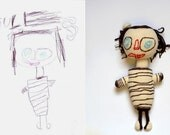 Crocheted toy from kids drawing - Unique Doll based on a child's Self-portrait - Crocheted personalized Doll - Made to Order