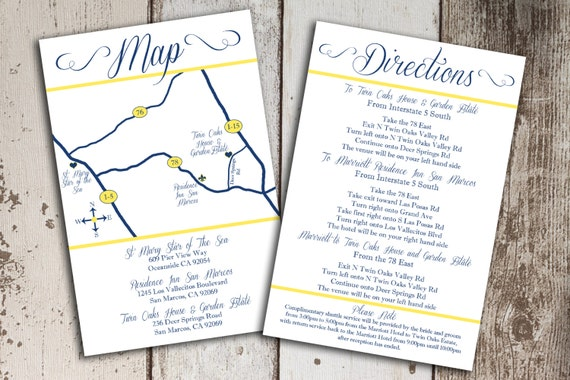 Inserts For Wedding Invitations: Items Similar To Custom Wedding Map And Direction