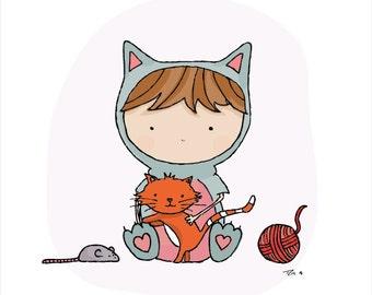 A4 Cat print. Children's Print. Nursery decor. Personalised Print. Kids cat print. Kids bedroom art print, Boys room, girls room, cats