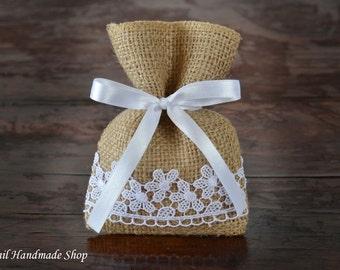 Rustic Wedding Favor Bags, Burlap Favor Bags, Country Wedding, Vintage, Set of 40