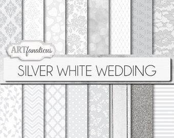 "White wedding digital papers ""SILVER WHITE WEDDING"" 16 white wedding patterns, floral designs, bokeh, damask, quatrefoil, chevron, wood"